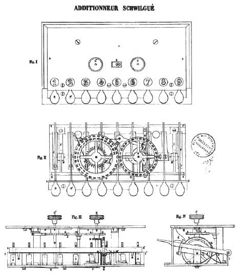 The patent drawing of the calculating machine of Schwilgué