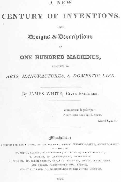 The title page of New Century of Inventions of James White