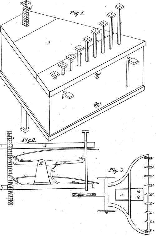 The patent drawing of the machine of Parmelee