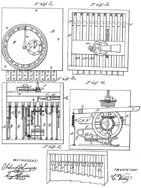 Patent drawing of Caroline Winter's machine