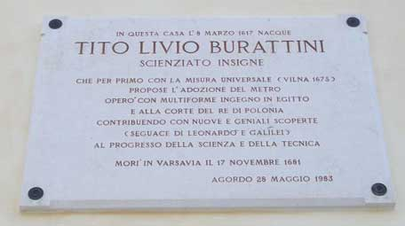 The plaque on the house of Burattini