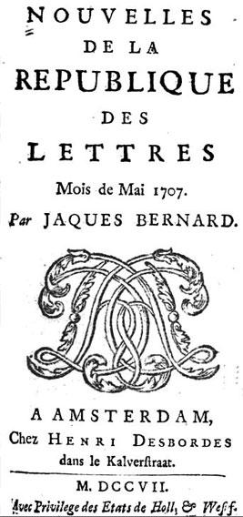 Nouvelles de la république des lettres