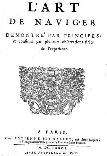 The title page of book L' art de naviger demontré... of Claude Dechales