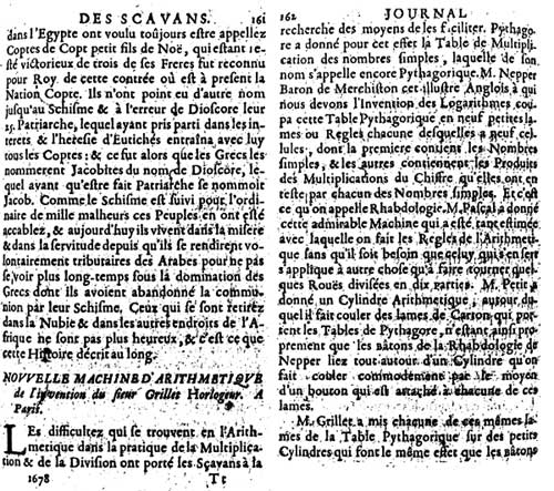 Pages 161 and 162 from Journal des Sçavans, describing the machine of Grillet