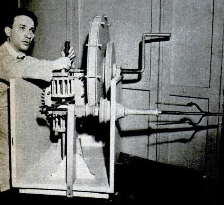 Dr. Roberto Guatelli, demonstrating one of his models (Leonardo's flyer spindle), a photo from the journal Popular Science, October 1949 (pp. 164-165)
