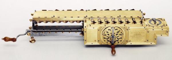 A replica of the Stepped Reckoner of Leibniz form 1923 (original is in the Hannover Landesbibliothek)