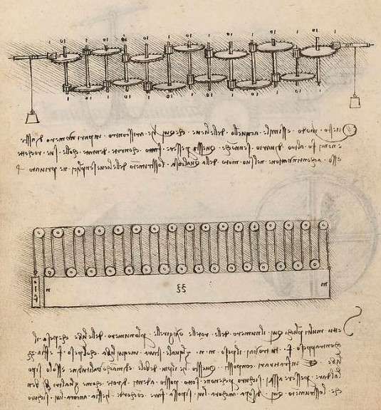 Page 36 back (folio 36v) of Codex Madrid I (the upper drawing is interesting for us, as the lower is picturing a multiple pulley mechanism)