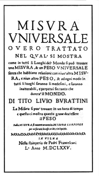 Burattini's most famous book—Misura Universale, published in 1675