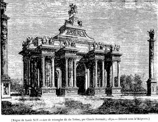 The triumphal arch on Rue St-Antoine, designed by Claude Perrault (Source: Le Magasin pittoresque, 1847)