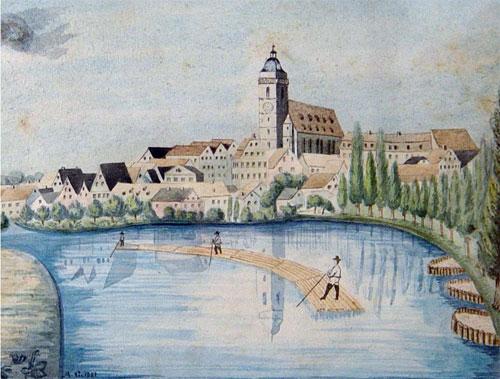 A raft on the Neckar River in Tübingen, painting by Johannes Pfister from 1620