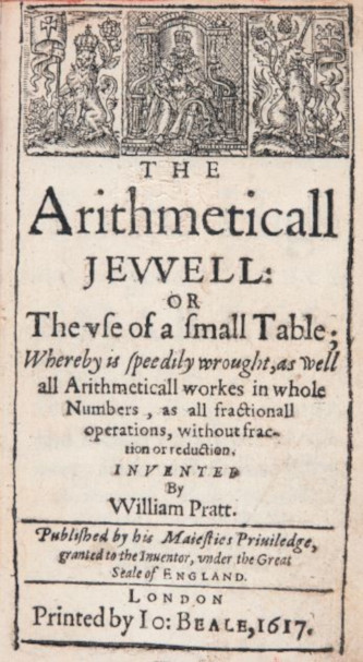 The title page of Arithmeticall Jewell of William Pratt from 1617