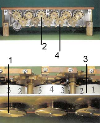 A view to the wheels mechanism of the Schickard's machine of v. Freytag Löringhoff (© Universität Tübingen)