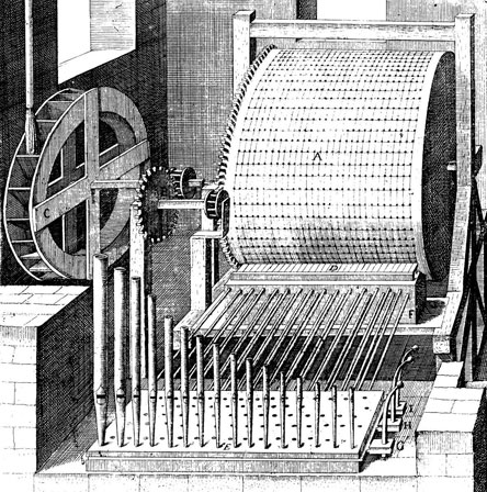 A water-driven organ, designed by de Caus for Hortus Palatinus