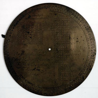 The brass plate of George Brown's Rotula Arithmetica