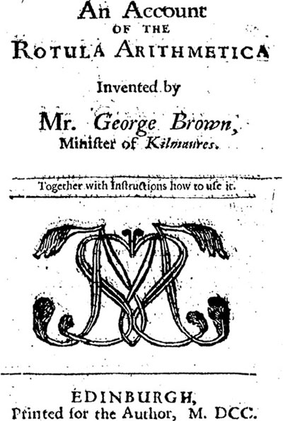 George Brown's An Account of the Rotula Arithmetica