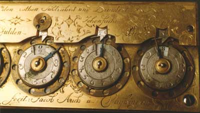 Close view to the digital wheels of the machine of Jacob Auch (© Württembergisches Landesmuseum Stuttgart)