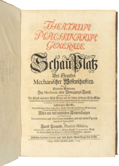 Leupold's Theatrium Machinarum Generale from 1724
