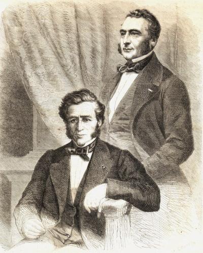 Péreire brothers—left Jacob-Emile Péreire (1800-1875) and right Isaac Péreire (1806-1880)