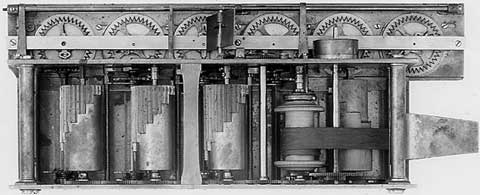 The oldest surviving arithmometer from 1822 (front view, upper, and internal mechanism, lower photo)