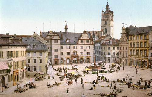The market square in the front of the Rathaus of Darmstadt, with the fountain, designed by Johann Müller in 1780