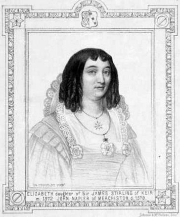 Elizabeth Stirling (1554-1579), the first wife of John Napier, 8th Laird of Merchiston