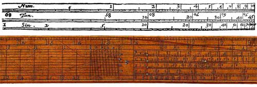 The original Drawing of Gunter Scale from 1624 (upper) and part of a wooden Gunter's Scale (lower image)