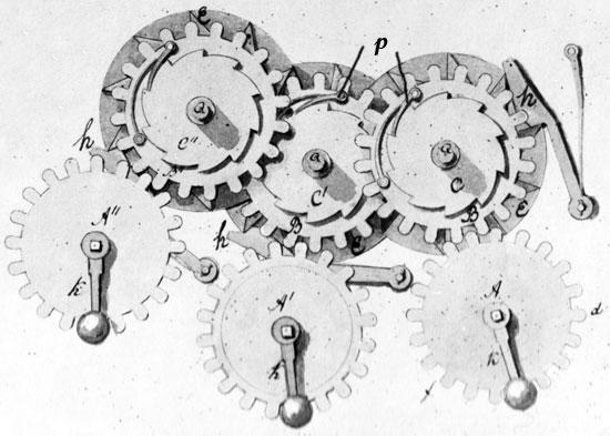 Figure 2: The internal mechanism (general view of gear-wheels) (© Stephan Weiss, www.mechrech.info)