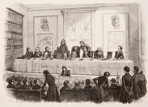 Abraham Stern demonstrating one of his calculating machines in Warsaw (at public sittings of the Friends of Sciences Society, Stern's Jewish clothes among black tailcoats worn by his colleagues always puzzled people who were not aware who he was)