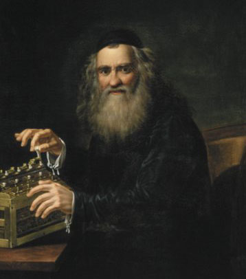 Portrait of Abraham Stern (with one of his calculating machines) from 1823, artist Jan Antoni Blank