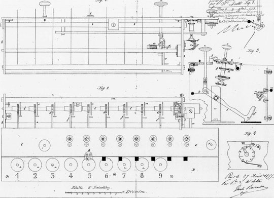 The patent drawing of Ernest-Narcisse Lobbé's adding machine