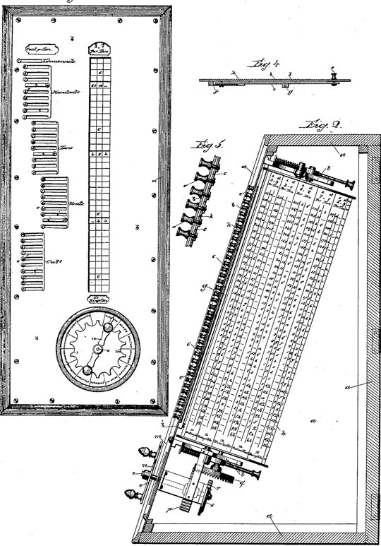 The first calculating machine of Baranowski (a drawing from the US patent)