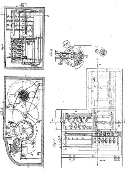 The patent drawing of the first machine of Castle