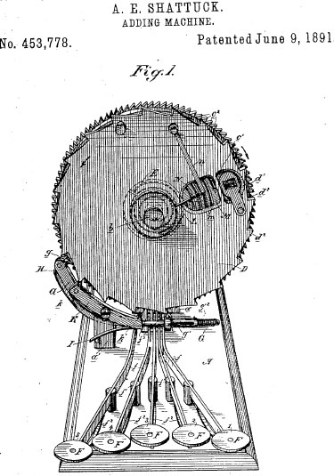 The patent drawing of Centigraph Adding Machine