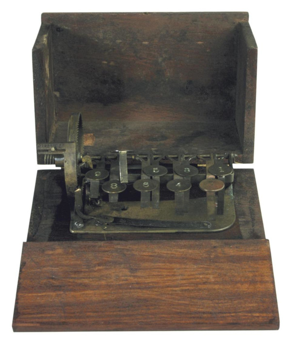 An experimental model of adding machine of Cram (© Arithmeum Museum in Bonn, Germany)