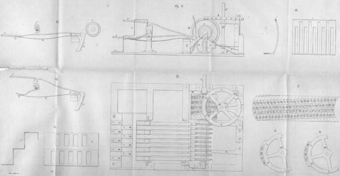 The drawing of Gonnella's Keyboard Adder from the book Descrizione di due macchine aritmetiche per l'addizione