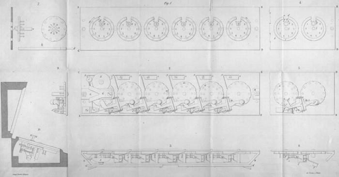 The drawing of Gonnella's Dial Adder from the book Descrizione di due macchine aritmetiche per l'addizione