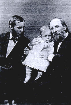 Thomas Hill with his son Henry and his grandson Edward in 1874