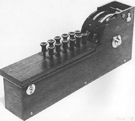 A replica of the calculating machine of Thomas Hill (Courtesy Nico Baaijens, www.calculi.nl)