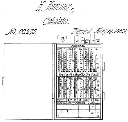 Henry Kummer's calculator from 1869, the patent drawing