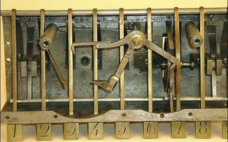 The inside of calculating machine of Victor Schilt (Courtesy of the Smithsonian Institution)