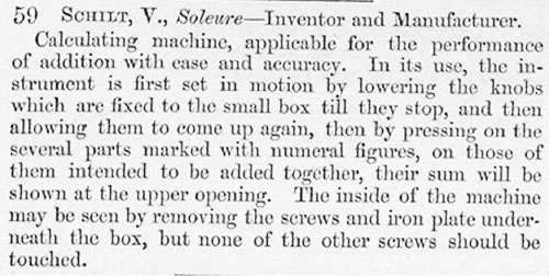 The description of Schilt's calculating machine in the catalog of Great Exposition of 1851