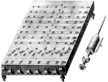 Slonimski's multiplying machine (in the right side is shown a single cylinder from the multiplying device)