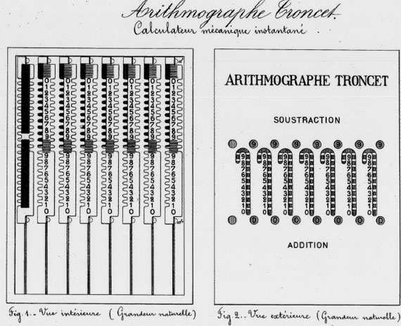 The patent drawing of the third Arithmographe of Troncet