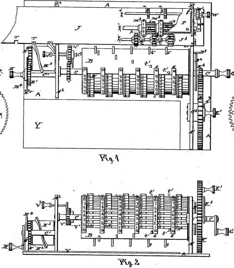 The patent drawing of the third machine of Barbour