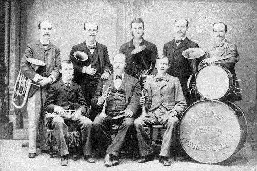 Burns Brass Band of Jabez Burns (sitting in the center of front row) and his sons, circa 1880