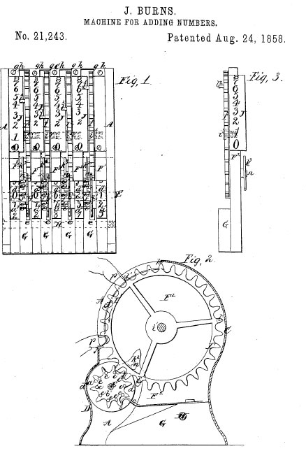 The patent drawing of Burns' addometer