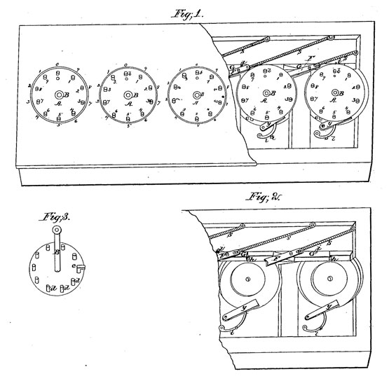 The calculating machine of John T. Campbell, the patent drawing