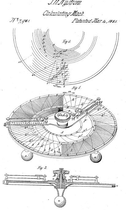 The patent drawing of Nystrom's Calculator