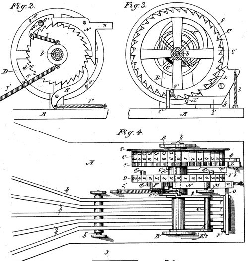 The patent drawing of first adding machine of Brainard Smith (side view and upper view)