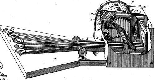 The patent drawing of first adding machine of Smith's (perspective view)